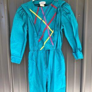 Vintage 1980's Teal Jumpsuit